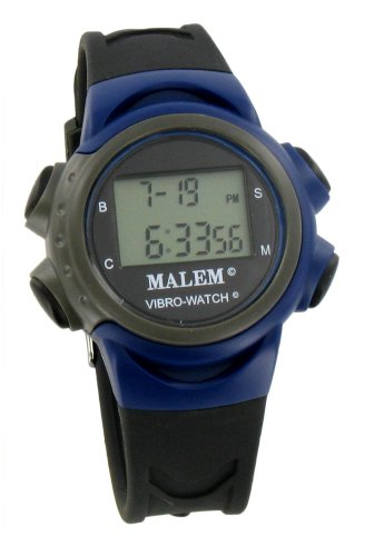 Price comparison product image Malem Vibro-Watch 12 Alarm Vibrating Watch - Blue/Black [Health and Beauty]