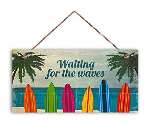 (TOPFINES Surf Sign, Waiting for The Waves, Colorful Surfboards, 5