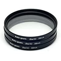 58mm Star-Effect Cross Filter Starburst Twinkle Effect Tiffen Filters 4 6 8 Point Set for Canon Nikon