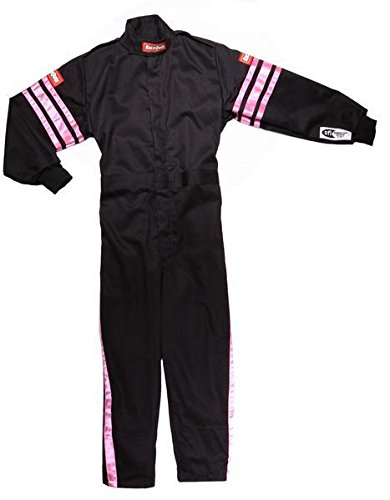 RaceQuip Unisex-Child Kids Single Layer Suit (Black/Pink, Small) by RaceQuip
