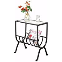 Metal Magazine Table with Tempered Glass, Stardust Brown