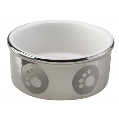 Round Paw Print Titanium Dog Dish by Ethical Pet
