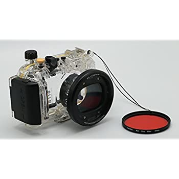 MEIKON 40m/130ft Underwater Camera Waterproof Housing Diving Case for Canon PowerShot S120 Comes with Red Underwater Filter