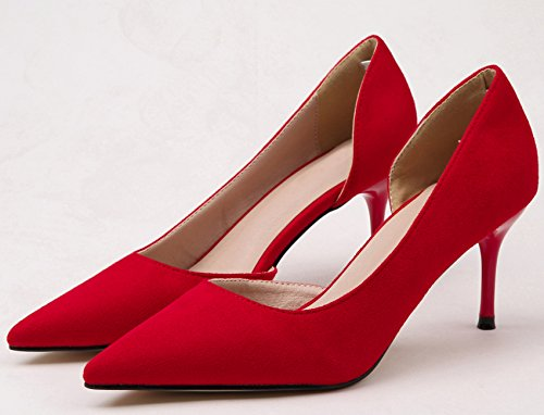 BIGTREE Suede Women Court Shoes Pointed Toe Wedding Sandals D'orsay Party High Heels Red FY9JdUTtbN