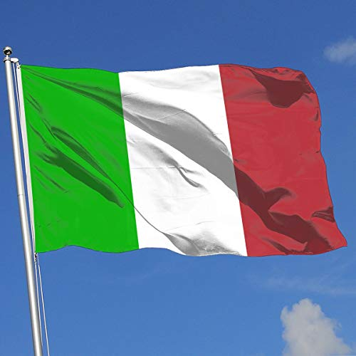 QZHUWAI Italian Flag 3x5FT-100% Polyester Single Layer Translucent Banner Brass Grommets Outdoor - Translucent Flags