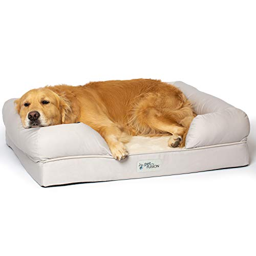 PetFusion Large Dog Bed w/Solid 4″ Memory Foam, Waterproof Liner, YKK Premium Zippers. [Sandstone, 36x28x9 – Sized for Medium & Large Dogs]. Breathable Cotton Blend Cover, Removable & Easy to Clean