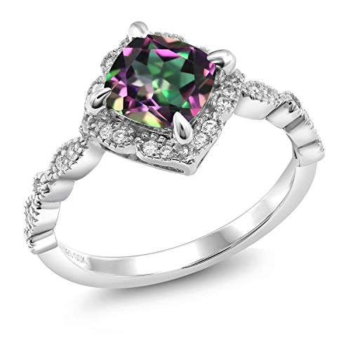 Gem Stone King 925 Sterling Silver 2.04 Ct Cushion Cut Green Mystic Topaz Solitaire Ring (Size 8) ()