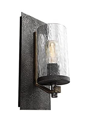 """Feiss WB1825DWK/SGM Angelo Glass Wall Sconce Lighting, Iron, 1-Light (6""""W x 13""""H) 60watts"""