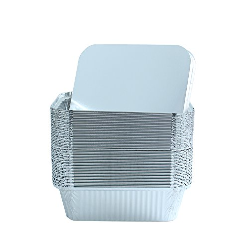 Party Bargains Premium Quality Durable, 9 X 7 Aluminum Foil Pans 5 Lb Capacity with Board Lids (50 Count) by Party Bargains (Image #3)