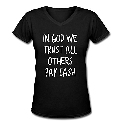 Tuoneng Womens T Shirt for Women in God We Trust All Others Pay Cash Tee Shirts (In God We Trust Others Pay Cash)