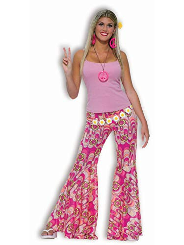Fun World Women's Power Bell Bottoms Adult Costume, Groovy Pink M/L, Medium/Large ()