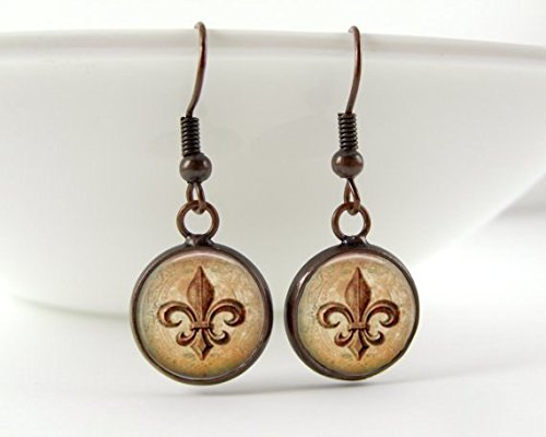 (Fleur De Lis Earrings : Copper. Lily Flower. Dangle Earrings. Copper Earrings. Art. Handmade Jewelry. Jewellery. )