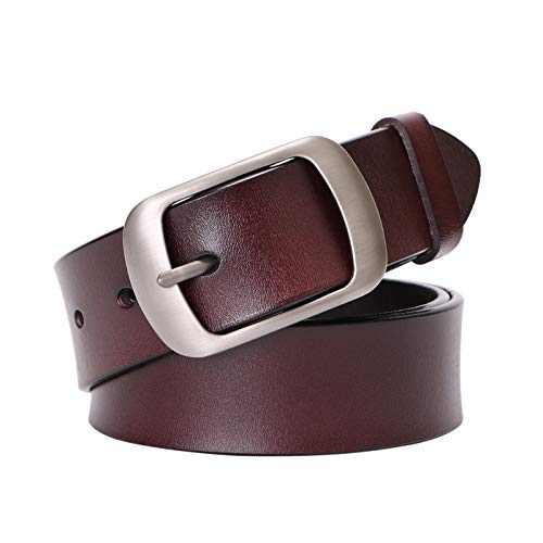 Genuine Leather Belts For Women Vintage Retro Jeans Belt With Pin Buckle Ladies Bull Leather Waist Belt For Jeans Pants Dresses ()