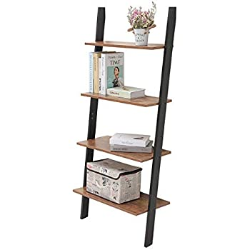 Iwell Ladder Shelf, 4-Tier Rustic Leaning Bookshelf, Wood Look Storage Rack, Against The Wall Shelves for Bathroom & Kitchen Bedroom, Office, Rustic Brown SJX001X-