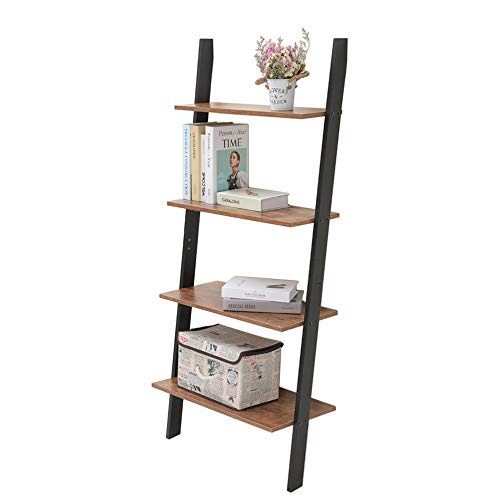 Iwell 4-Tier Ladder Shelf, Rustic Leaning Bookshelf, Wood Look Storage Rack Shelves for Bathroom & Kitchen Bedroom, Office, Stable, Sloping, Leaning Against The Wall, Rustic Brown SJX001X (Ladder Wall Shelf)