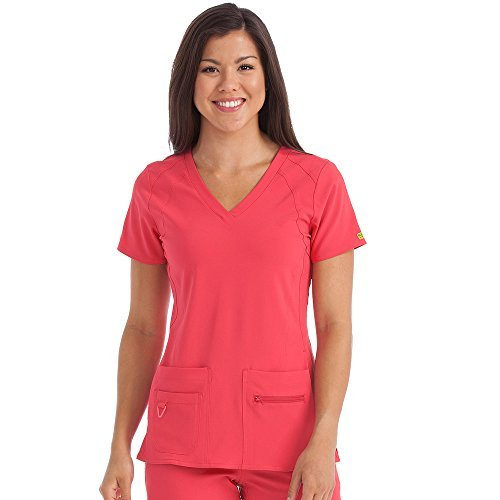 Activate By Med Couture Women's Refined V-Neck Solid Scrub Top Xx-Small Sun-Kissed