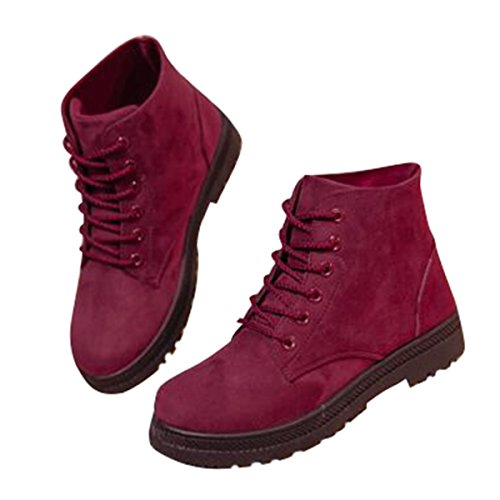 Snow 8 up Cute Winter Ankle Boots Booties Fur Red Boots Flat Platform Women's Size Lace Sneakers wxqZ4W