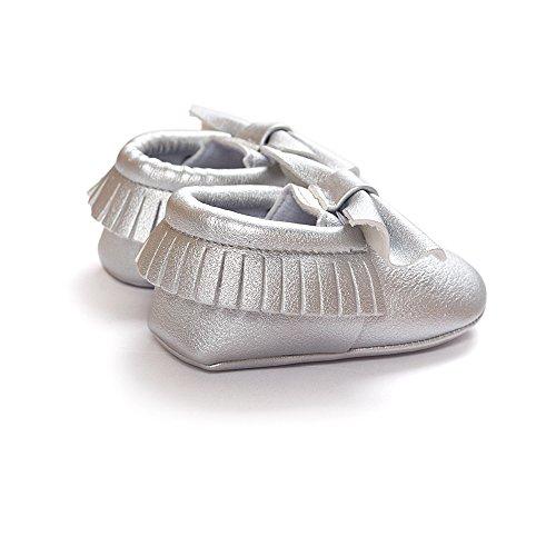 Royal Victory R & V Unisex Baby Jungen Mädchen Vorläufer-Schleife Mocassins Weicher Sohle Quasten Kleinkinder Schuhe 11Farben Silber