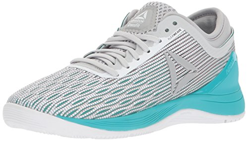 Reebok Women's CROSSFIT Nano 8.0 Flexweave Cross Trainer, White/Stark Grey/Grey/Classic White/Turquoise, 8.5 M US