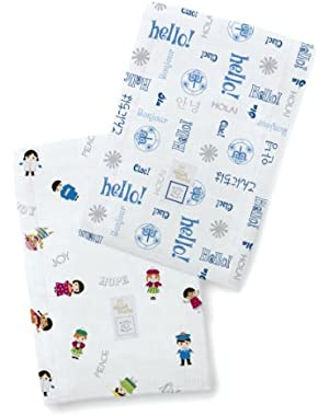 SwaddleDesigns Baby Burpies, Disney It's a Small World - Hello! Children of the World (Set of 2 in True Blue)...