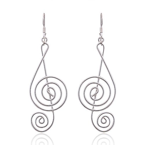 925 Sterling Silver Light Wire 45 mm Long G-Clef Music Note Dangle Hook Earrings