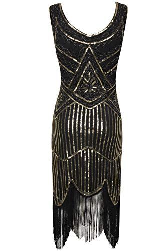 BABEYOND 1920s Flapper Dress Roaring 20s Great Gatsby Costume Dress Fringed Sequin Dress Embellished Art Deco Dress (XXX-Large, Black and Gold) -