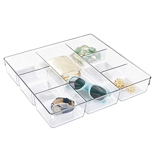 mDesign Closet and Dresser Drawer Storage Organizer Tray: Divided Bin for Socks, Leggings, Tights, Watch, Scarves, Jewelry, Reading Glasses – 7 Compartments, Clear