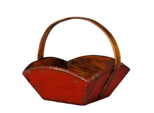 Antique Revival Wooden Fruit Tray with Handle, Red Finish from Antique Revival