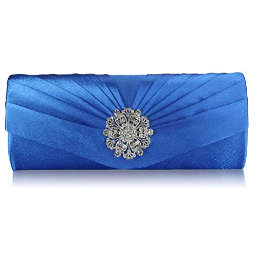 Bridesmaid Plain Ladies Satin Diamante Xardi Women Evening Bag Clutch Baguette Wedding Blue London an6xf8