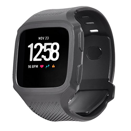 Lwsengme Compatible with Fitbit Versa Band with Bulit-in Case,TPU Protective Water-Resistant Sports Band Compatible with Fitbit Versa Smart Watch