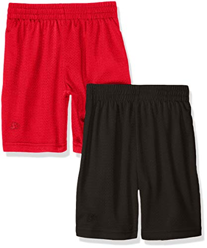 Starter Big Boys' 2-Pack Basic Mesh Short, Black with Team Red, Small