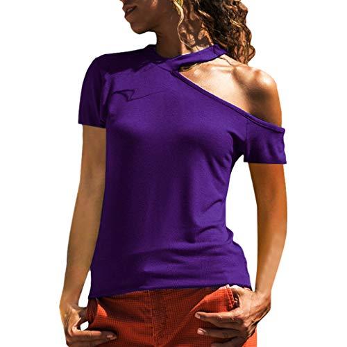 (Women's Cold Shoulder T-Shirt Long Sleeve Knot Twist Front Tunic Tops Purple)