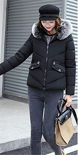 con Acolchada Manga Mujer De Espesar Larga Slim Chaqueta Plumas Termica Ocasional Fit Invierno Capucha Schwarz Abrigos Outwear Pluma Piel Modernas Corto xpq6vX6