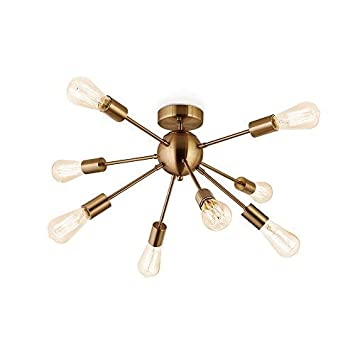 Sputnik Chandelier Antique Brushed Brass with 8-Light Semi Flush Mount Ceiling Light Modern Pendant Lighting Decoration for Dining Room Bed Room Kitchen Bathroom and Hallway by Flyer5