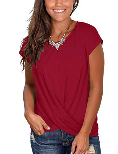 (Women's Round Neck Short Sleeve T Shirts Twist Front Casual Summer Tops)
