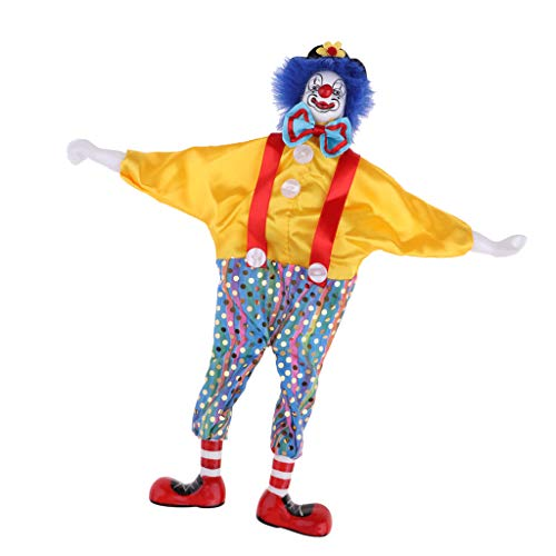 MagiDeal 38cm Funny Yellow Clothes Clown Man Doll Halloween Decor Ornaments Gifts