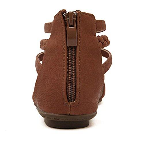 Zapatos Peep Toe De La Playa Planos De Las Sandalias De Abalorios De Bohemia De Las Mujeres Marrón