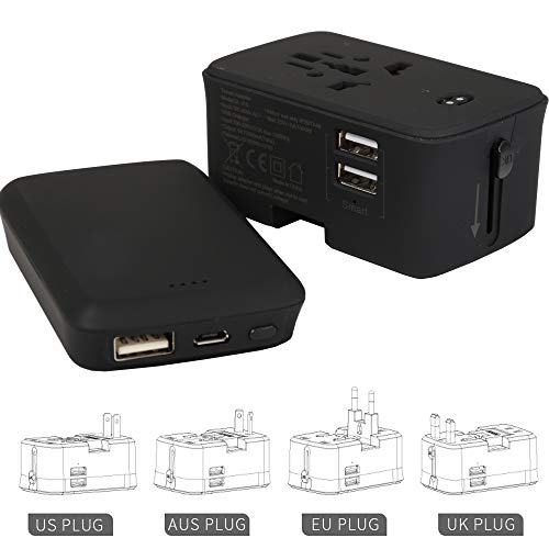 I clean International Travel Adapter with Power Bank, 2 in 1 Portable Wall Charger AC Plug Adaptor for Europe,UK, AU, US,Asia Covers 150+Countries