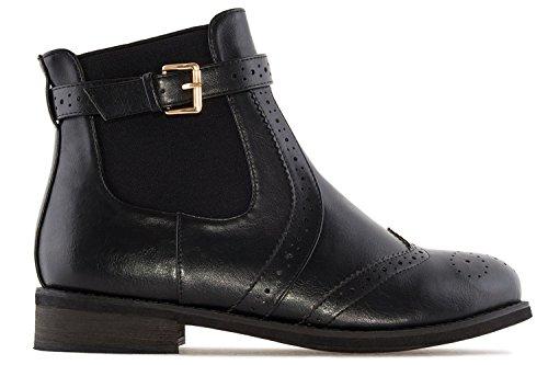 Andres Machado Damen Chelsea Boots - Schwarz Schuhe in Übergrößen
