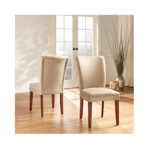 Modern Home Classic Upholstered Dining Chairs Color Options (Set of 2) Includes Scented Candle Tart (light brown) by TRIBECCA HOME Parson