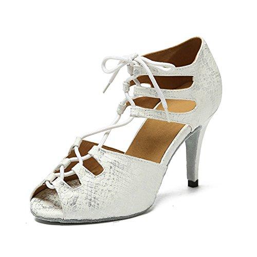 Kevin Fashion Kl221 Vrouwen Lace-up Synthetische Latin Salsa Tango Formele Party Sandalen Wit-8,5 Cm Hak