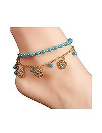 Spiritlele Boho Layered Turquoise Beads Anklet Crystal Flower Tassel Sandal Beach Foot Chain for Women