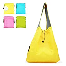 Patent Pending : EcoJeannie 4 Pack Large Super Strong Ripstop Nylon Foldable Draw-String Reusable Shopping Bag, Heavy-Duty Grocery Tote Bag with Built-in Pouch, Inner Pocket, and ReinforcedHandle
