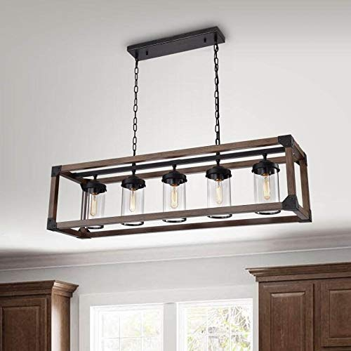The Lighting Store Daniela 5-Light Antique Black Metal and Natural Wood Glass Chandelier