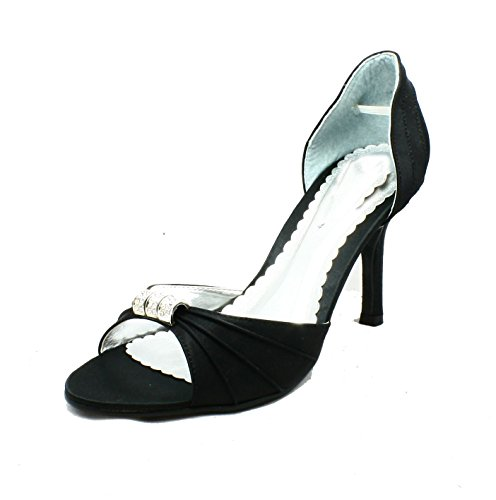 detail high diamante Satin shoes Ladies toe heel Black with Open middle peep party HFWBWXPwq