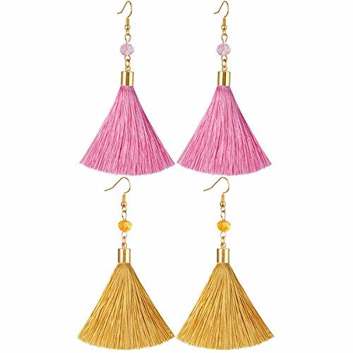Drop Earrings Assorted Colours - TUMBEELLUWA Tassel Earrings Crystal Bead Fringe Drop Dangle Earrings for Women Girls, Assorted Colors