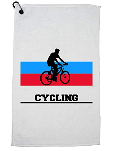Hollywood Thread Russia Olympic - Cycling - Flag - Silhouette Golf Towel with Carabiner Clip by Hollywood Thread