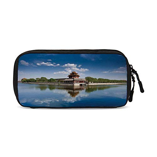 Ancient China Decorations Useful Small Data Storage Bag,Historical Architecture Imperial Palace Trees Sea Blue Sky Decorative for Office,9.4