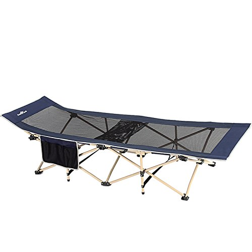 Camp Solutions Strong Stable Folding Camping Bed Cot Guest Bed with Storage Bag - L74.8'' x H14.2'' x (Heavy Duty Camp Cot)