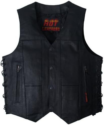 Hot Leathers Mens Ten Pocket Leather Vest Black, XXXXX-Large